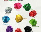 50% Mini Petite Polka Dot Satin Rolled Roses / Pick Your Own Colors / Beautiful Rolled Satin Roses Rosettes.