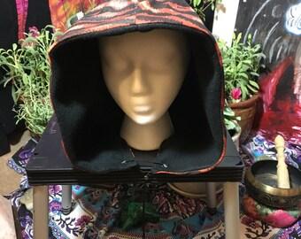 boho/gypsy/festival/burning man hood/hat/skull cat striped sack with fleece for warmth