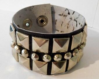 "Vintage Punk Rock RIVET Wide BRACELET CUFF Wristband w/ Original Label - Adjustable Size 6.5"" - 8"" - Goth"