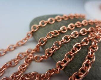COPPER CABLE CHAIN, 4.25mm x 3.6mm links, Bulk Chain, Choose Bright or Hand Oxidized and length