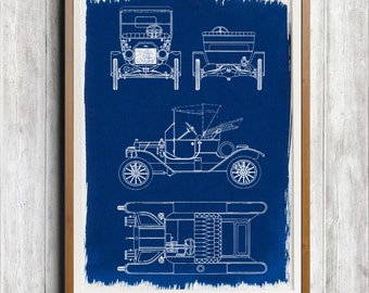 Ford Model-T Two Seater A4 Hand coated traditionally made blueprint cyanotype