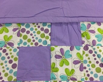 READY TO SHIP- Flower Quilt, Purile, Green, Blue, Flowers, Polka Dots, Circles, Lap Quilt, Warm, Toddler, Crib Size, Baby, Throw
