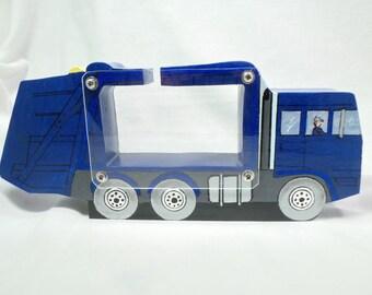 Trash hauler/Garbage Truck Wooden Bank-personalized free