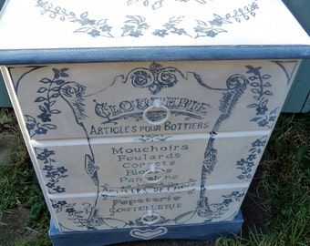 Bedside cabinet small chest of drawers with hand painted vintage French typography and flowers.