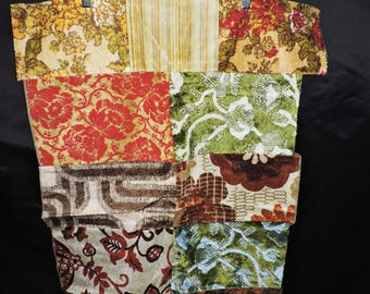 Vtg 70s Upholstry Fabric Squares Red Gold Green Brown Floral Stripe Stitched Together Wall Hanging Rug Retro