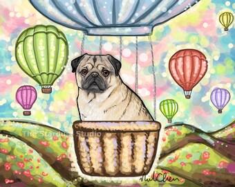 Pug (8x10, 12x16, 16x20, 24x36 inch Paper or Canvas prints) Reproduction Premium Luster Dogs Pets Animals Paris Hot Air Balloon Art