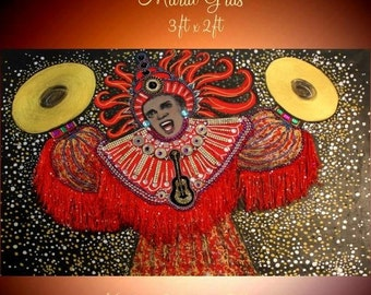 """SALE Original  Contemporary Modern GalleryOil Mixed Media one of a kind Canvas Painting,""""Mardi Gras """" by Nicolette Vaughan Horner"""