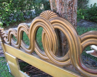 FRENCH BRAID / Heavily Carved Braided French Provincial King Headboard / Paris Apt.