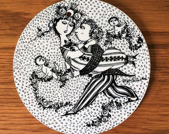 Vintage Nymolle Denmark Ceramic Wall Plaque / Plate / Trivet  Bjorn Wiinblad, March Marts Victoire, Black White Danish Modern