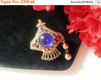 Christmas Sale Blue Rhinestone Brooch, Very Unique Pin, 1970's 1980's Vintage Accessories, Vintage Jewelry