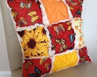 Patchwork Pillow, Patchwork Cushion, Rag Pillow, Rag Cushion, Rag Quilt Pillow, Rag Quilt Cushion, Sunflower Pillow, Sunflower Cushion
