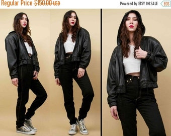 20%OFF 1DAY SALE 80s 90s Vtg Black Genuine Leather Luxurious Bomber Jacket / Super Soft 'Hoodie' Hooded Zip Front Coat / Minimalist Casual /