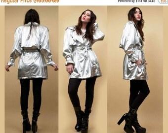 LAYAWAY PLAN | S O L D |80s Vtg Silver Lamé Metallic Trench Coat Parka SPY Jacket / Lilli Rubin Futuristic Mod Glam New Wave