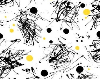 FIONA- by the yard QT fabric~yellow black polka dots squiggles on white~24897 Z