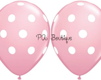 """Light Pink and White Polka Dot 11"""" Latex Helium Balloons. Your Choice of Quantity with Free Shipping!"""