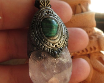 rose quartz and malachite pendant - anahata crystals - anahata pendant