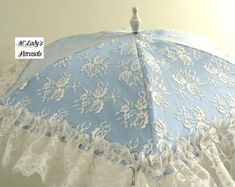 VICTORIAN PARASOL Umbrella in Your Choice Color Satin and Delicate Chantilly Lace Overlay with Ruffles Bridal Civil War Flower Girl Prom