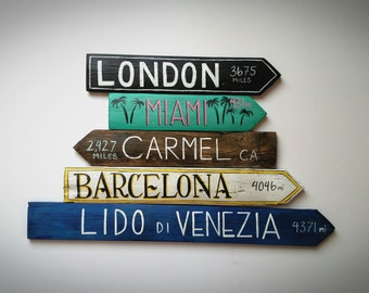 Set of 5 Custom Travel Signs - Hand Painted on Reclaimed Wood Fence Pickets - Outdoor, Garden, Vacation Signs