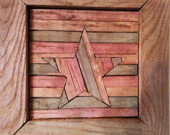 Reclaimed Wood, Primitive Decor, Recycled, Barn Wood, Wall Art, Salvage, Wood, Decor, Lath, Star, July 4, Independence Day, Patriotic