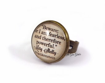 Frankenstein Book Ring - Mary Shelley Book Quote Jewelry Antique Bronze Ring - Librarian Jewelry English Literature Book Lover Teacher Gift