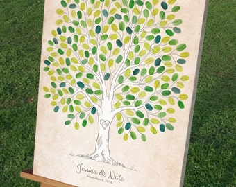 Rustic Thumbprint Wedding Tree Guestbook Alternative, Unique Wedding Signature Tree, 50-300 Guests, Gallery Wrapped Canvas