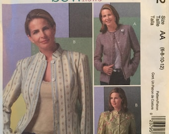 McCall's M4782, Size 6-8-10-12, Misses' Lined Jackets Pattern, UNCUT, Fitted, Sew News Pattern, Button Front, Above Hip, 2005