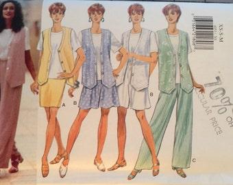 Butterick 4053, Size X Small, Small, Medium, Misses'/Misses' Petite Vest, Top, Skirt, Shorts and Pants Pattern, UNCUT, Vintage 1995