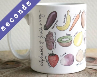 SECONDS - Fruit and Vegetable Alphabet Mug - Fruit and Veg Mug - gift for foodie - food art - Alphabet of Fruit and Veg Mug
