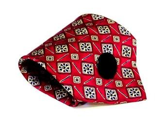 Wide Necktie Cuff, Silk Neck Tie Bracelet, Eco Chic Upcycled Original Handmade Mens Red Geometric Tie Wrist Band itsyourcountry
