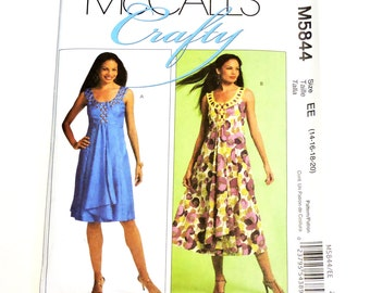 McCalls 5844 Sewing Pattern, Misses Sleeveless Summer Casual to Party Dress Size 14 16 18 20 Uncut itsyourcountry