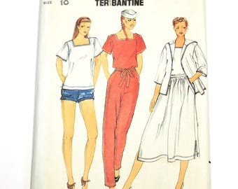 Vintage Butterick 6542 Sewing Pattern, Jacket Top Skirt Pants Shorts Size Misses Size 10 Nautical Style Sailor Collar itsyourcountry