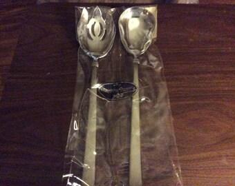Salad Spoon And Fork Reed and Barton Heritage Mint Ltd.Regent  2pc. Salad Set