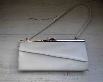 Vintage 60s White handbag Bag Clutch Vegan Vinyl Small Dead Stock