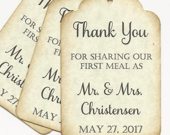 100  PERSONALIZED Thank you for Sharing our First Meal/Wedding or Favor tags-Shower or Gift tags-Wedding napkinties