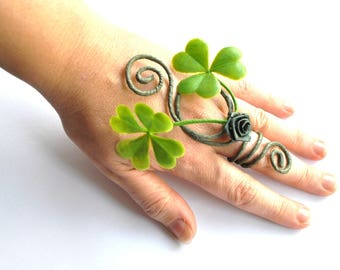 Lucky four leaf clover ring woodland fairy tree people costume