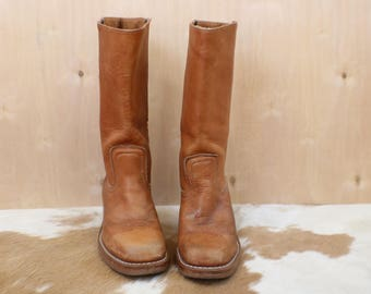 6 M / Frye Campus Boots / Women's Honey Brown Boots /Vintage Leather Boots