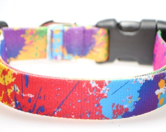 "Paint Splatter - 1"" Wide Adjustable Dog Collar"