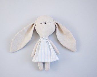 Little bunny girl handmade cuddly toy with striped dress