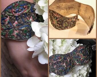 "Chinese Cloisonne Cuff Bracelet Pink-Blue-Green-Yellow Enamel Lotus Flower, Vintage Silver, 45.9 Grams, 2"" Wide, 7 "" Long"