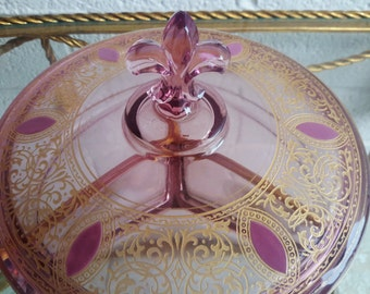 Gold Encrusted Amethyst Glass Dish Fleur De Lis Handle Cambridge Glass Purple Rare Collectible Glass