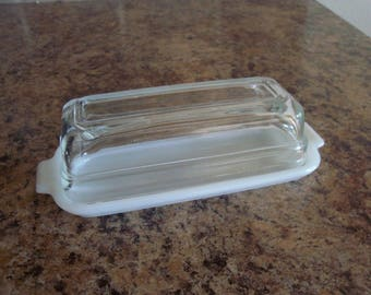 FREE USA Shipping-Vintage Fire King Milk Glass White 1/4 Pound Butter Dish w/Crystal Lid