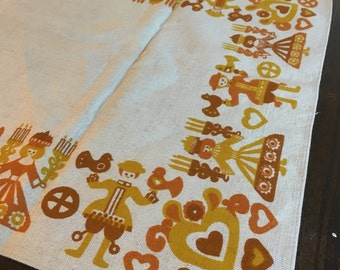 Bright Table runner mid century fall colors candle sweedish danish design