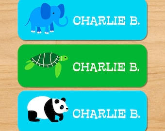 Kids Personalized Waterproof Labels, Childrens Endangered Animals Labels, Kids Round Labels, Mini Labels, Rectangle Labels, Weatherproof