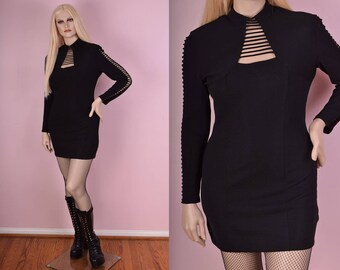 80s Black Cage Dress/ US 10/ 1980s/ Vintage/ Long Sleeve