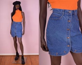 80s Blue Denim Button Down Skirt/ 27 Waist/ 1980s/ Jean