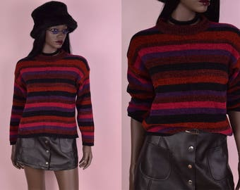 90s Striped Sweater/ Small/ 1990s
