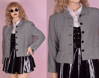 90s Black and White Houndstooth Jacket/ Large/ 1990s