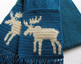 Moose Scarf. Teal blue, knit and crochet scarf with bull moose silhouettes. Crochet animal scarf.