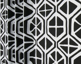 Black and White Geometric Aiden Curtains  Rod Pocket  63 72 84 90 96 108 or 120 Long by 24 or 50 Wide