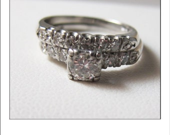 antique platinum art deco 60 carat diamond wedding set - Vintage Wedding Ring Set